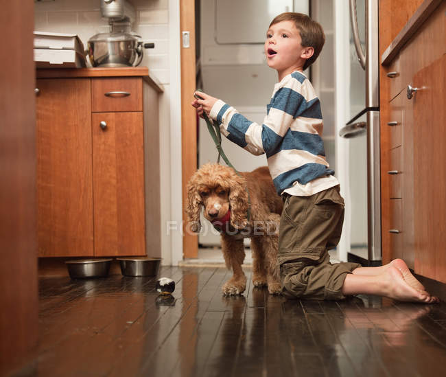 Boy holding lead of pet dog in kitchen — Stock Photo
