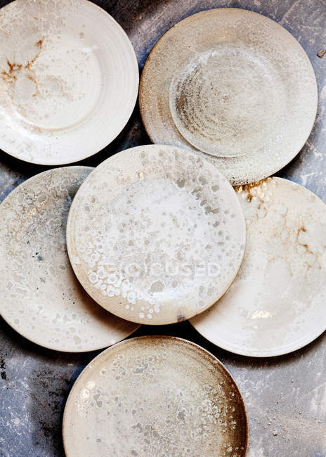 Handcrafted ceramic plates — Stock Photo