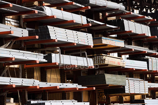 Construction materials, metal pipes in warehouse — Stock Photo