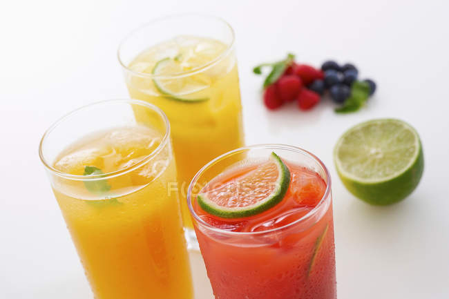 Fresh fruit drinks — Stock Photo