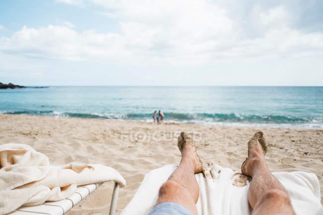 Вид на пляж від шезлонг, Ланаї-Сіті, Гаваї, США — стокове фото