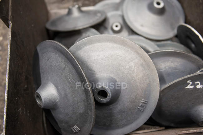 Incomplete industrial steel parts in foundry — Stock Photo