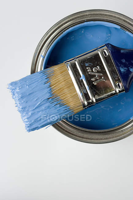 IS825-Paintbrush and blue paint — Stock Photo