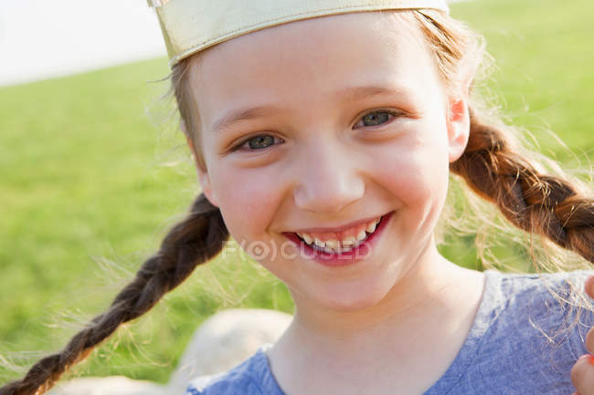 Close up of girls smiling face — Stock Photo
