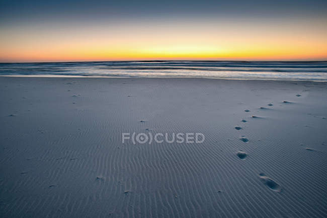 Footprints on sandy beach — Stock Photo