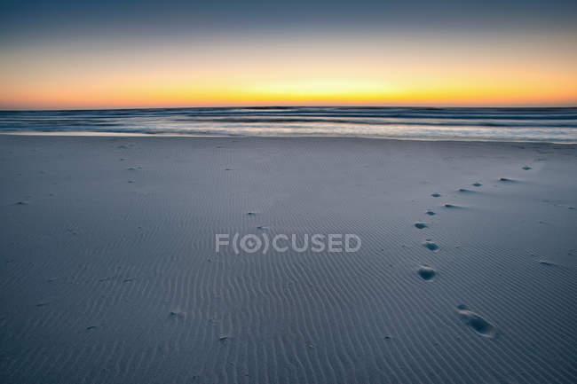 Следы на песчаном пляже — стоковое фото