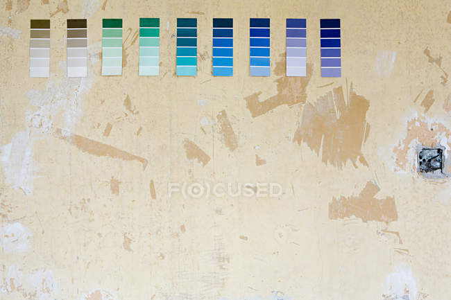 Colour charts on a wall, home improvement concept — Stock Photo