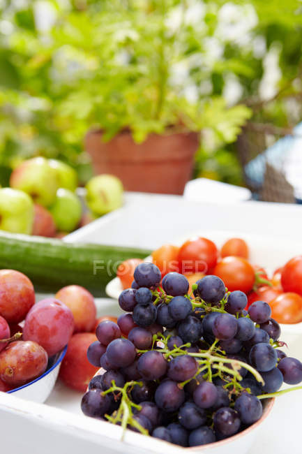 Close up of tray of fruit on table — Stock Photo