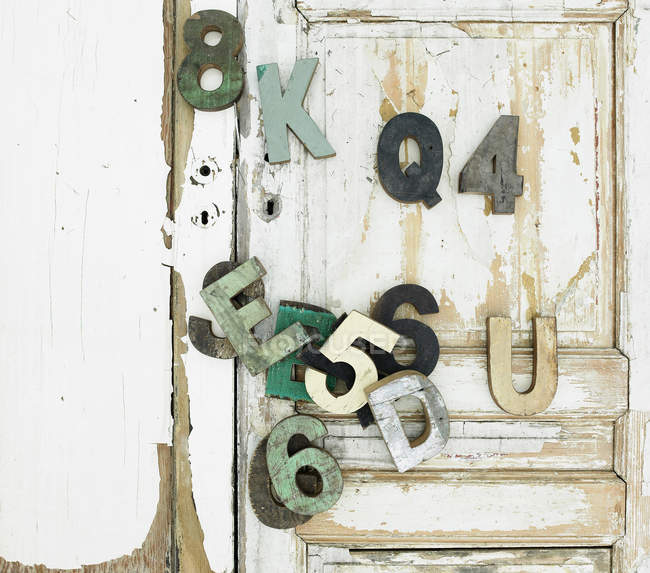 Decorative wooden symbols — Stock Photo