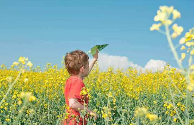 Niño jugando con avión de papel en el campo - foto de stock