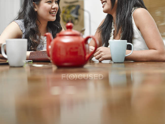 Two young women sharing pot of tea in kitchen — Stock Photo