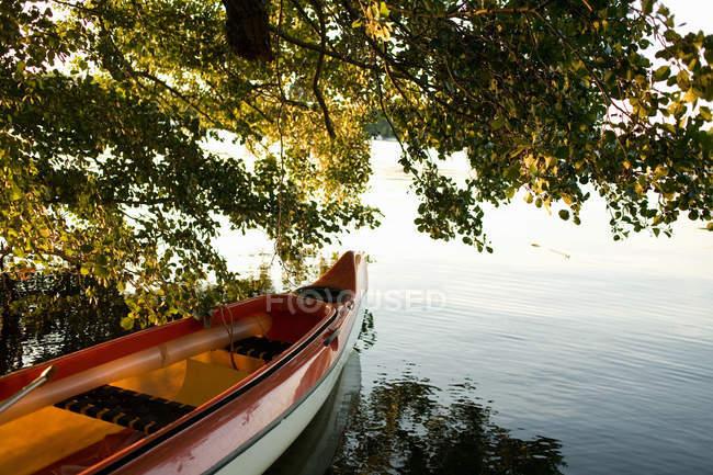 Canoe moored on lake at sunset time — Stock Photo