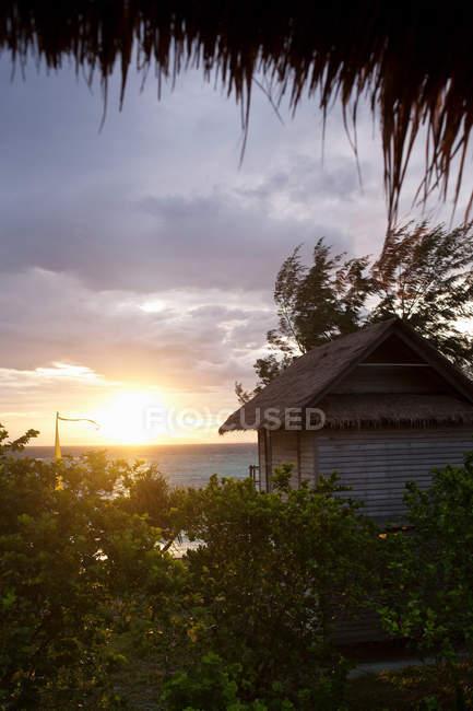 Capanna, circondata dal verde con cielo di tramonto — Foto stock