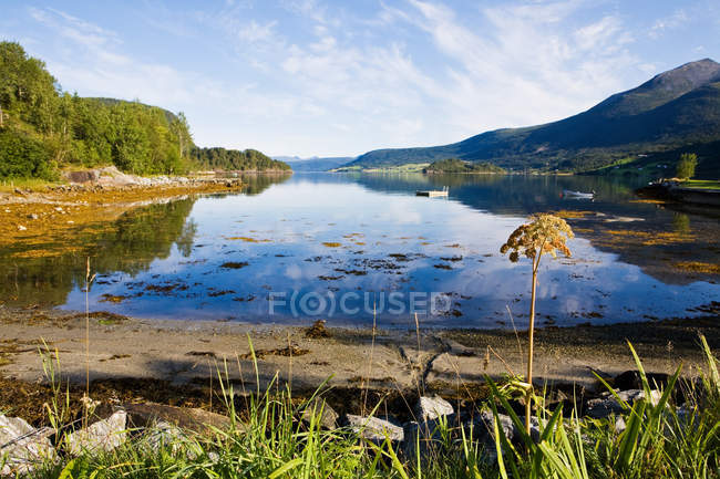 Вид на rodvenfjord в денний час — стокове фото