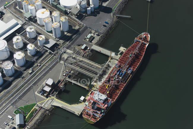 Vue aérienne du cargo à Port Melbourne, Melbourne, Victoria, Australie — Photo de stock