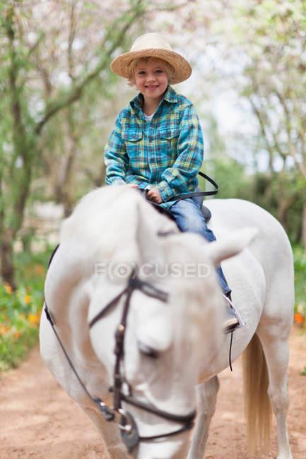 Sorrindo menino equitação cavalo no parque — Fotografia de Stock