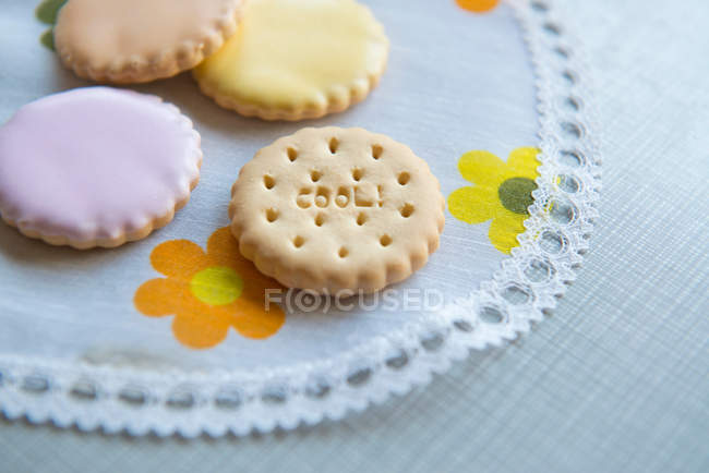 Four decorated cookies — Stock Photo