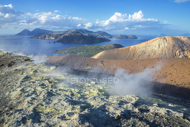 Gran Cratere and view of islands Lipari and Salina, Vulcano Island, Aeolian Islands, Sicily, Italy — Stock Photo