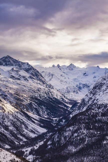 Scenic view of Winter landscape, Engadine, Switzerland — Stock Photo