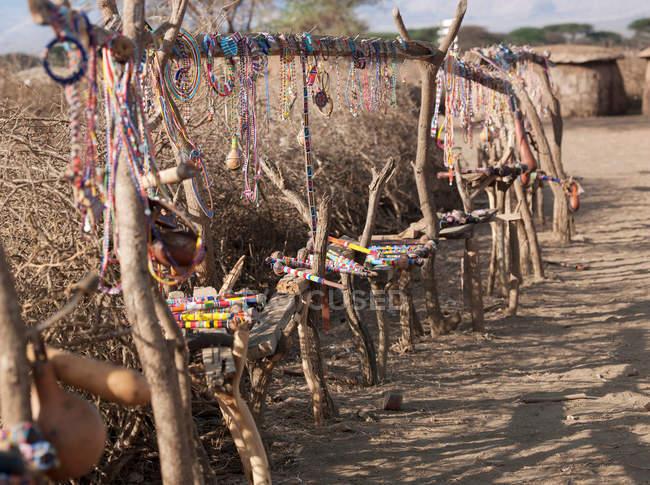 Maasai jewellery for sale at local village near to eco tourist camp, southeast Kenya, Kenya — Stock Photo