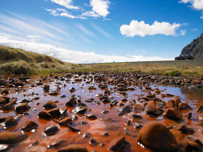 Felsen in ländlichen Teich — Stockfoto