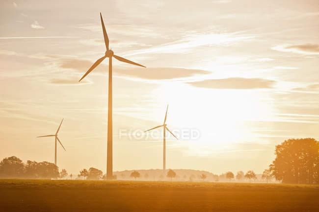 Éoliennes dans le paysage rural — Photo de stock