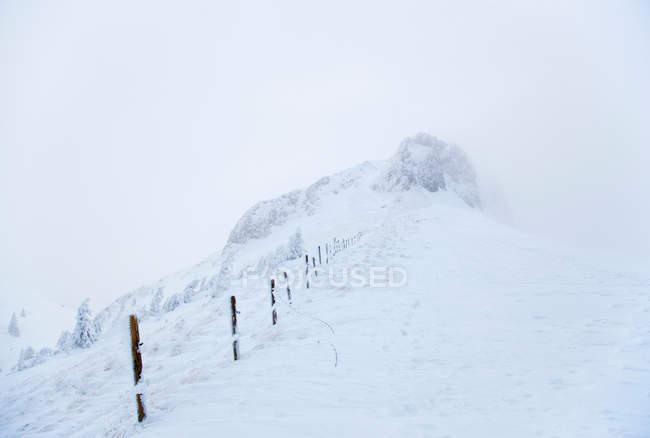 Rural clôture obscurci par la neige — Photo de stock