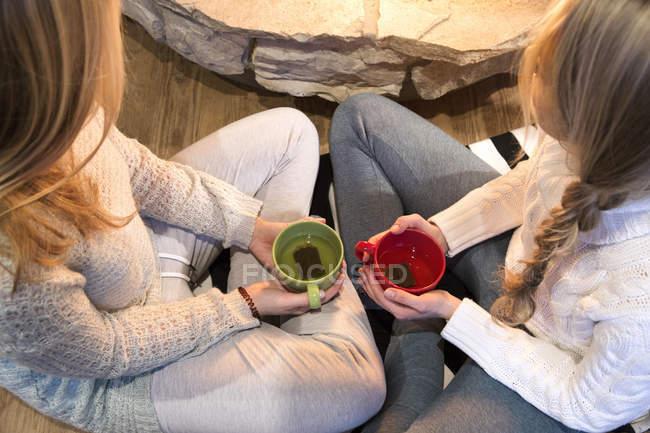 Высокий угол обзора двух молодых женщин, пьющих травяной чай перед камином — стоковое фото