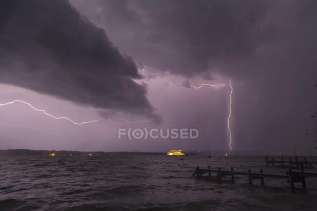 View of storm and lightning on Lake Starnberg, Bavaria, Germany — Stock Photo
