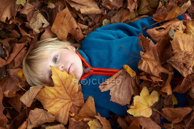 Boy playing in autumn leaves — Stock Photo