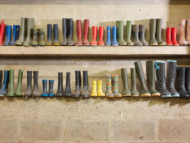 Stivali di gomma sugli scaffali di fila — Foto stock