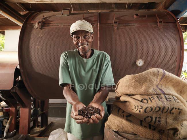 Trabajador con granos de café - foto de stock