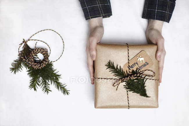 Mulher segurando o presente de Natal embrulhado em papel pardo, decorado com samambaia e string, visão aérea — Fotografia de Stock