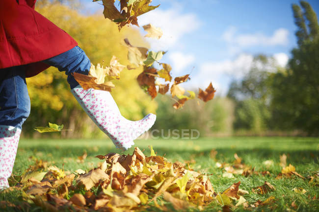 Cropped shot of mature woman kicking autumn leaves in park — Stock Photo