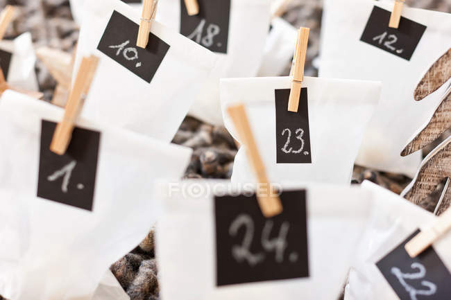 Paper bags with number signs — Stock Photo