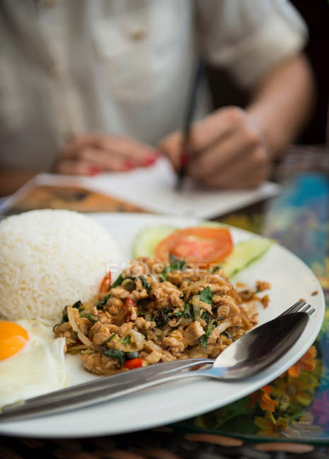 Close-up view of delicious traditional laos cuisine on plate — Stock Photo