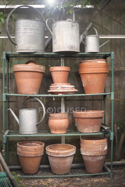 Clay plant pots and watering cans on rack — Stock Photo