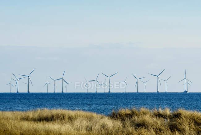 Windkraftanlagen auf dem Meer mit klaren blauen Himmel — Stockfoto