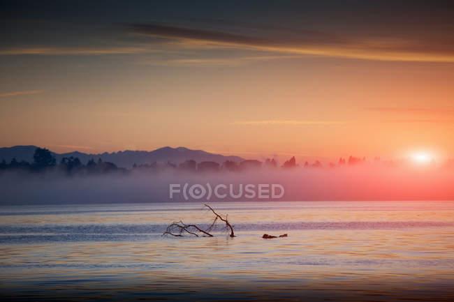 Brouillard sur le lac Majeur et le lever du soleil ciel — Photo de stock