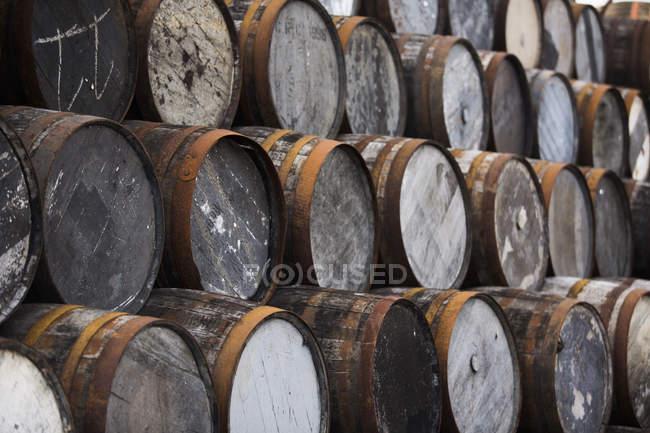 Pilha de barris de uísque de madeira — Fotografia de Stock