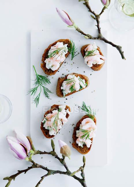 Пластина хліба з креветками доліва — стокове фото