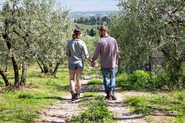 Full length rear view of couple hand in hand walking on dirt track — Stock Photo
