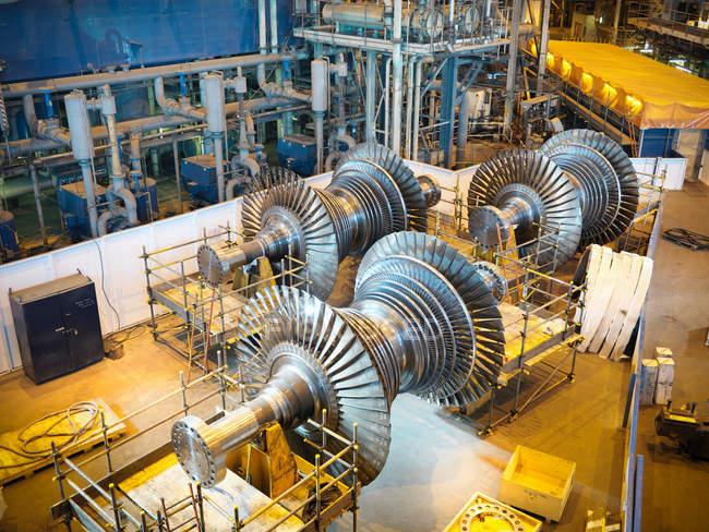 Turbine machines working in power station — Stock Photo