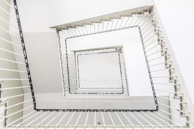 White Square Staircase, Bottom View U2014 Stock Photo