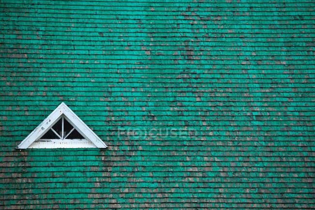 Janela no telhado verde — Fotografia de Stock