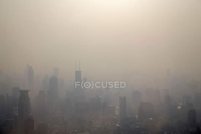 Mist over Shanghai cityscape — Stock Photo