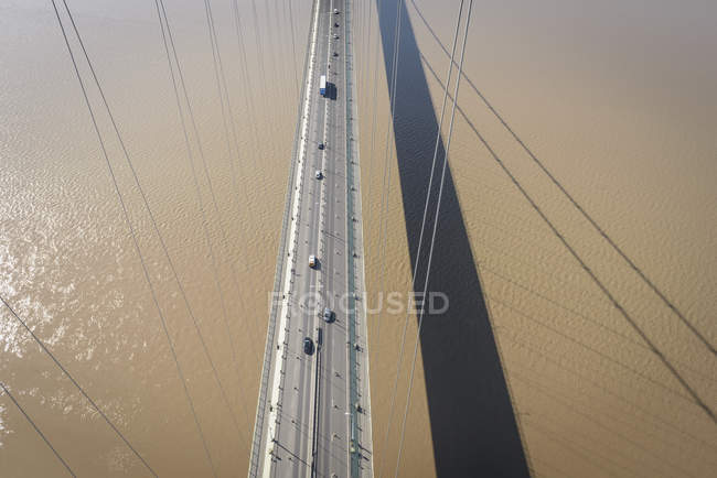 Aerial view of roadway on Humber Bridge, UK — Stock Photo