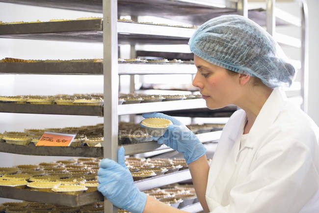 Baker inspecting baked pie case on tray — Stock Photo