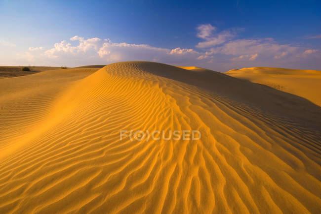 Dune di sabbia increspate sotto il cielo blu — Foto stock