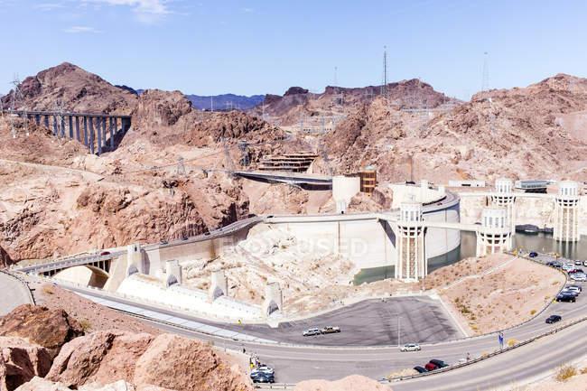 Отмечая мнение Плотина Гувера, Невада, Калифорния, США — стоковое фото